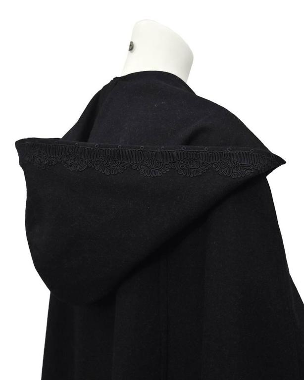1960's Marrian-McDonnell Black Wool Cloak 3