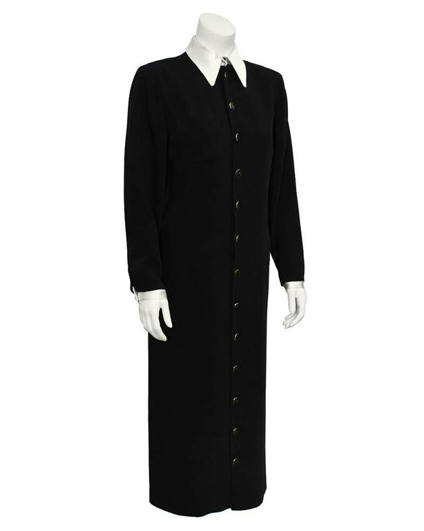 1980's Yves Saint Laurent YSL Black Button Front Shirt Dress 2