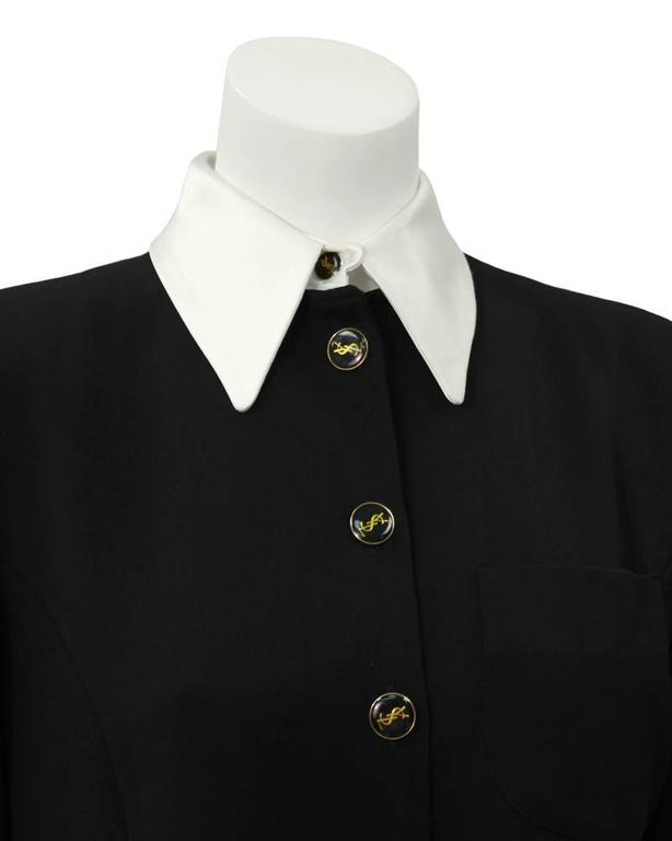 1980's Yves Saint Laurent YSL Black Button Front Shirt Dress 4