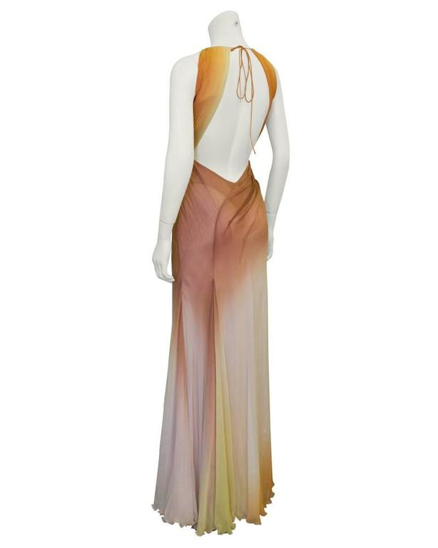 Beige Early 2000's Versace Tan Ombre Gown For Sale