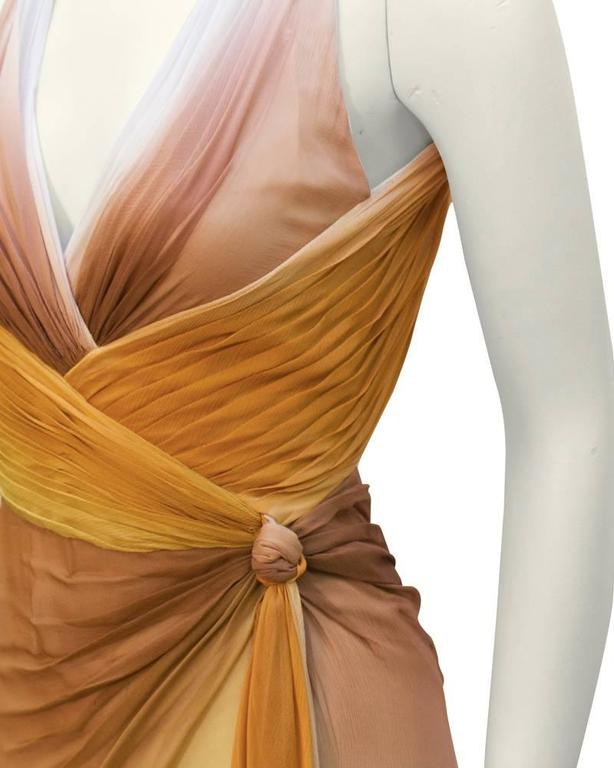 Early 2000's Versace Tan Ombre Gown In Excellent Condition For Sale In Toronto, Ontario