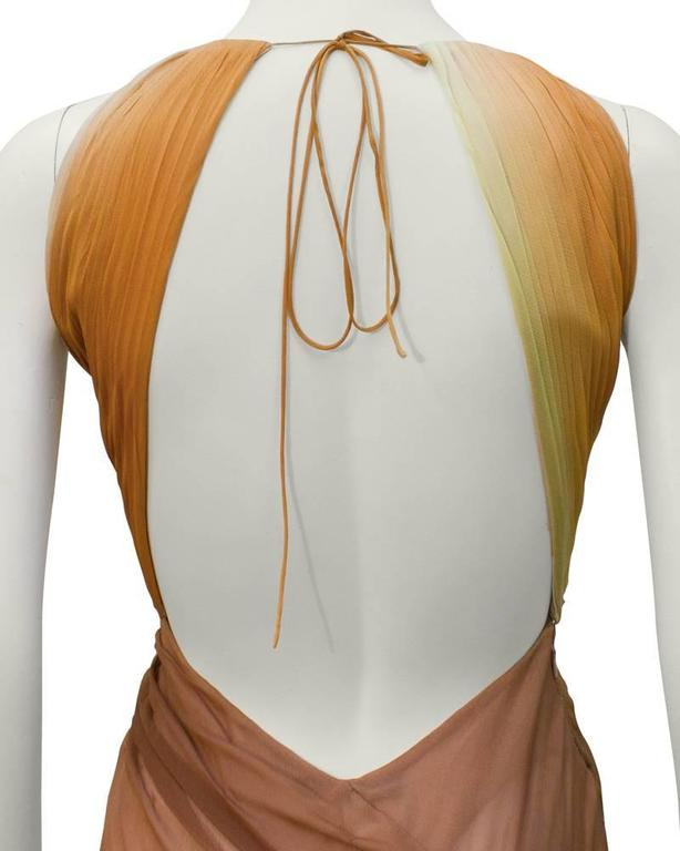 Women's Early 2000's Versace Tan Ombre Gown For Sale