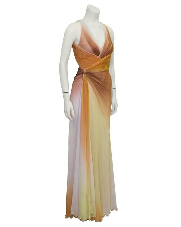 Early 2000's Versace Tan Ombre Gown 2