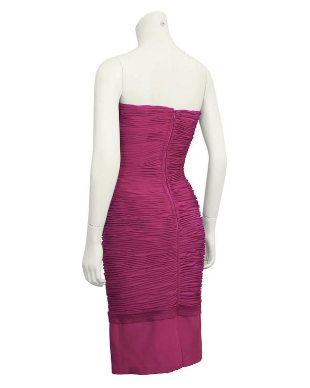 Purple 1990's Versace Magenta Wiggle Dress For Sale