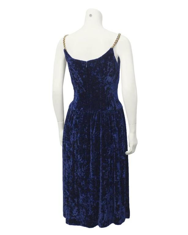 Black 1990's Chanel Navy Panne Velvet Cocktail Dress For Sale