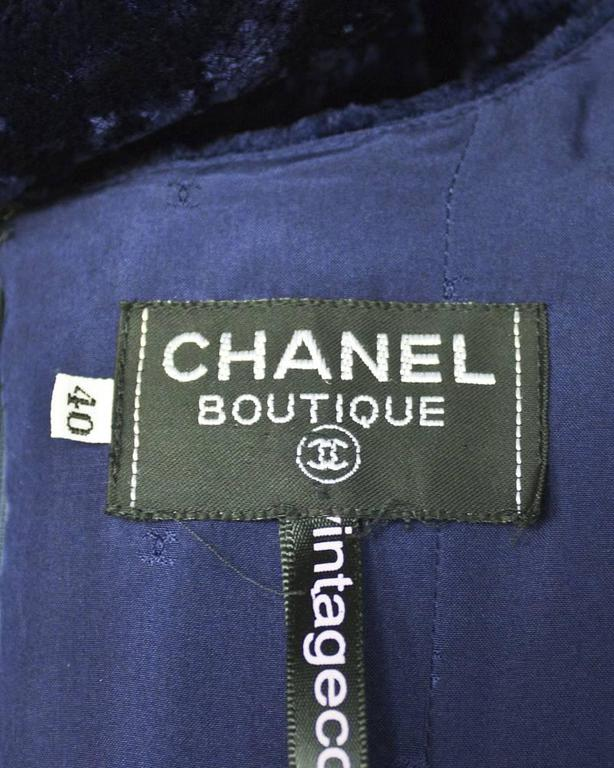Women's 1990's Chanel Navy Panne Velvet Cocktail Dress For Sale