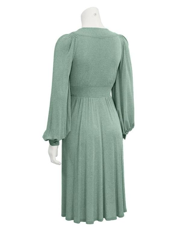 Gray 1970's Jean Muir Green Day Dress  For Sale