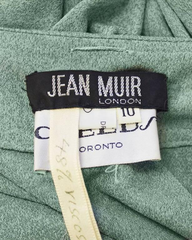 Women's 1970's Jean Muir Green Day Dress  For Sale