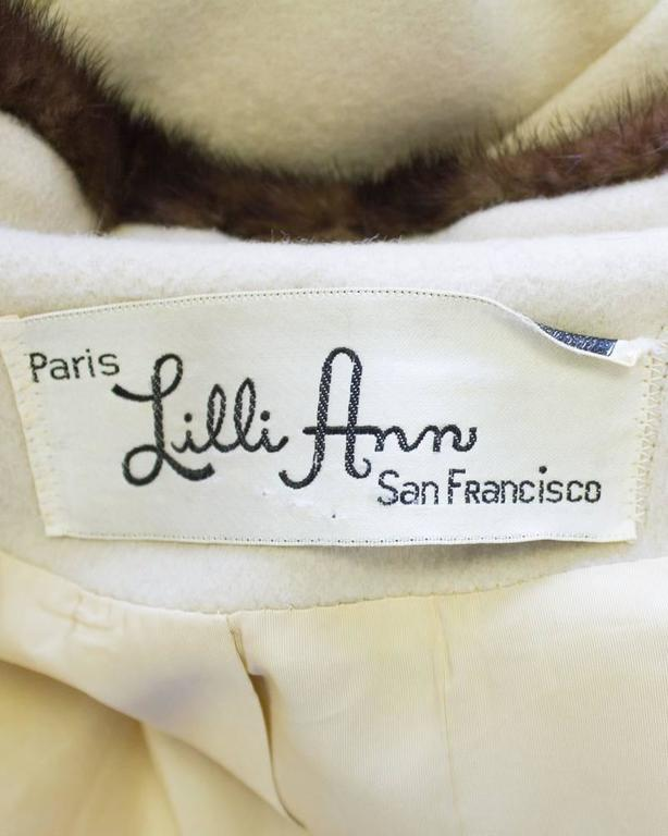 1950's Lilli Ann Beige Coat with Fur Collar  For Sale 1