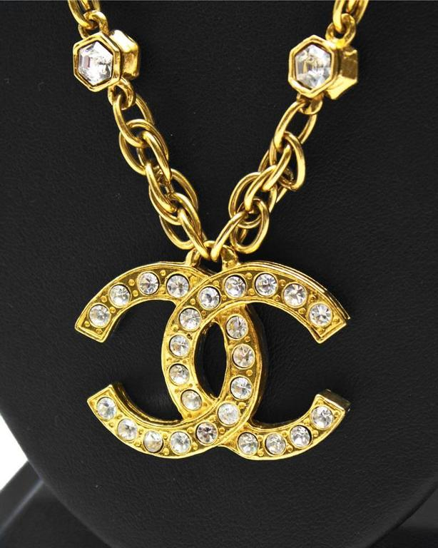 1980's Chanel Chain Necklace with CC Pendant  2