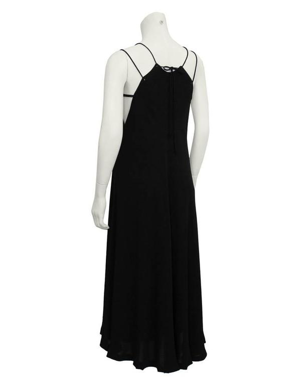 Black 1970's Halston Double Strap Evening Dress  For Sale