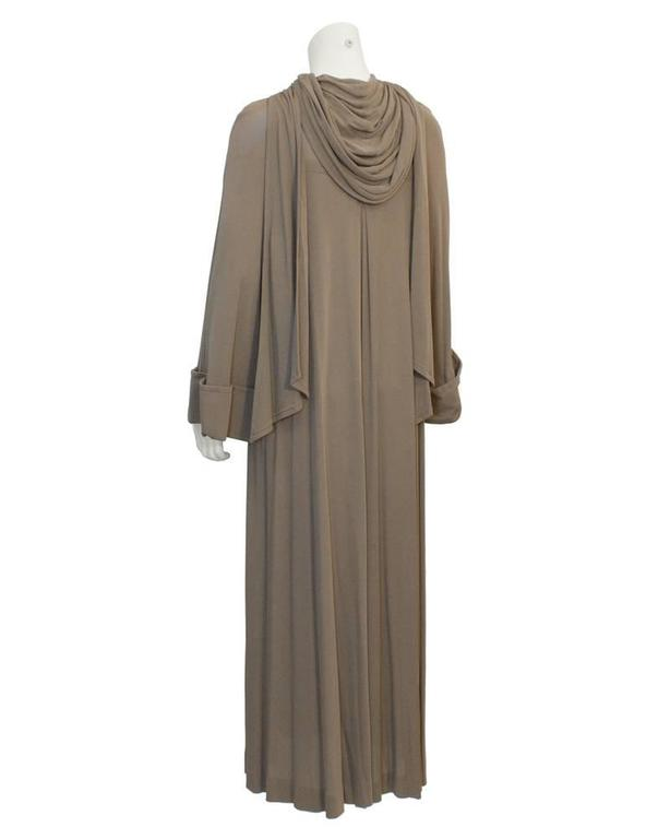 Gray Early 1980's Vicky Tiel Mocha Gown with Hood For Sale