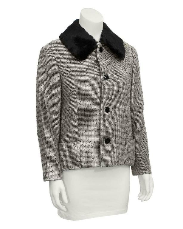 1950's Jacques Griffe Tweed Jacket with Fur Collar 2