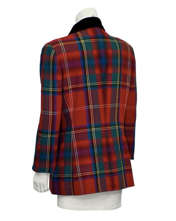 Black 1980's Ralph Lauren Red Tartan Blazer  For Sale