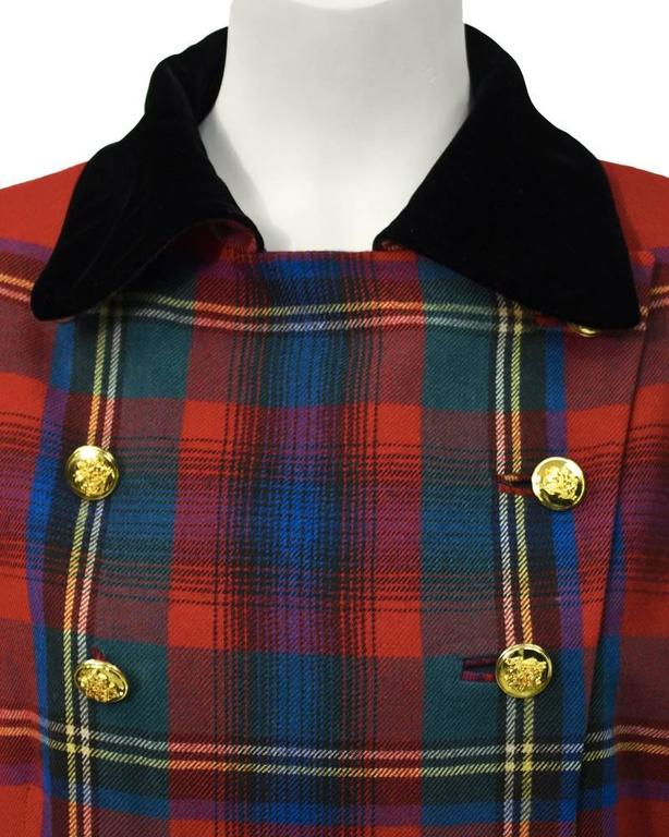 1980's Ralph Lauren Red Tartan Blazer  In Excellent Condition For Sale In Toronto, CA