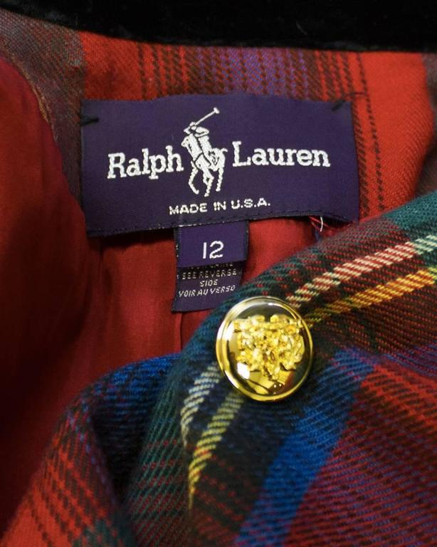 Women's 1980's Ralph Lauren Red Tartan Blazer  For Sale