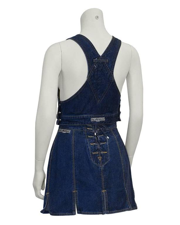 Black Gaultier Jeans Denim Bib and MIni Skirt For Sale