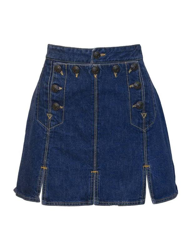 Gaultier Jeans Denim Bib and MIni Skirt In Excellent Condition For Sale In Toronto, CA