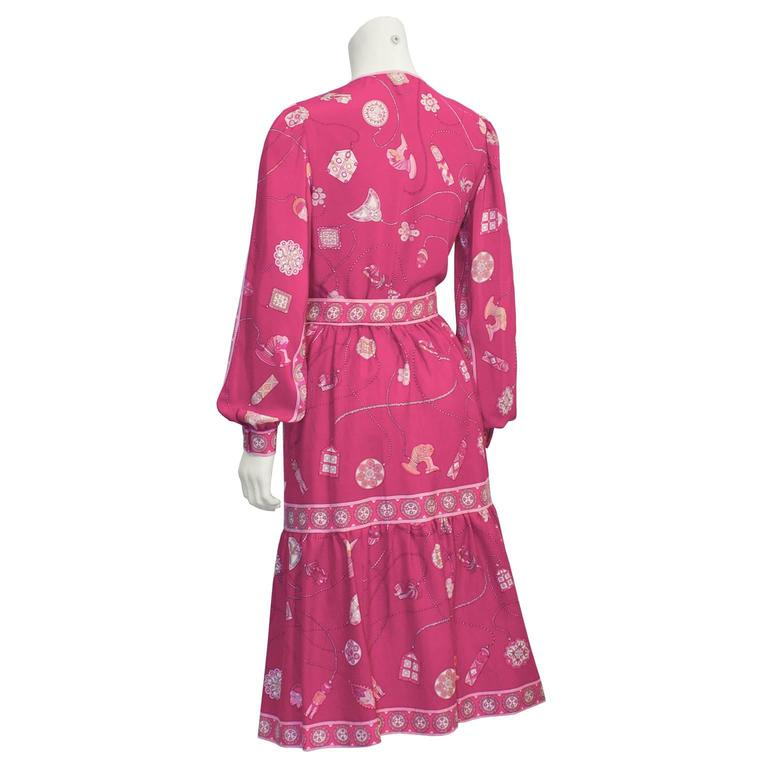 Pink 1970's Pucci Fuschia Silk/Wool Challis Set For Sale