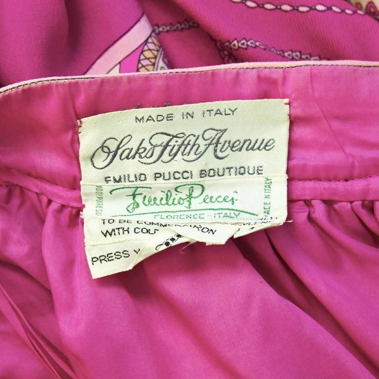 1970's Pucci Fuschia Silk/Wool Challis Set For Sale 1