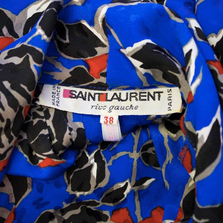 1980's Yves Saint Laurent YSL Jacquard Silk Print Dress For Sale 1