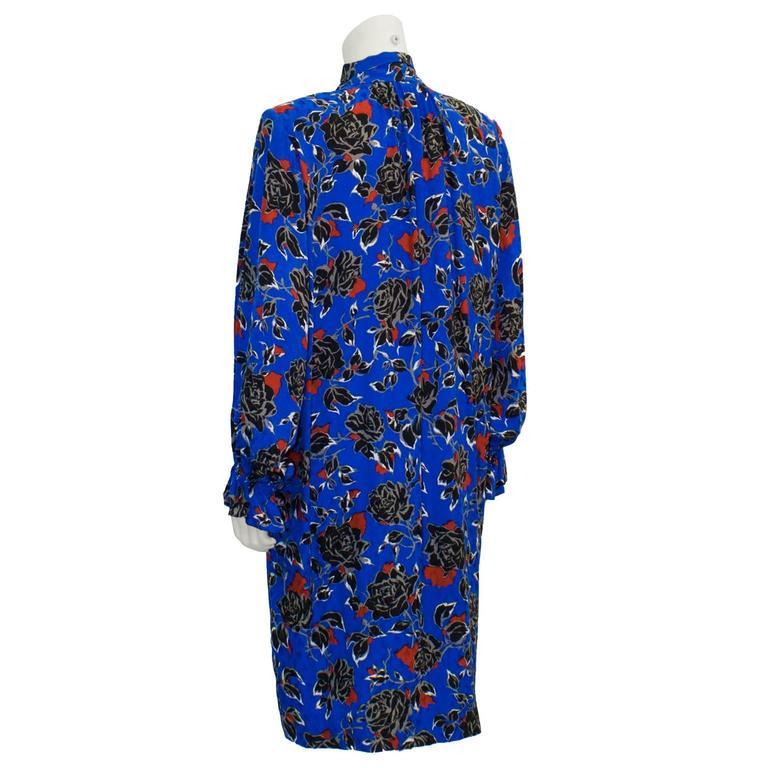 Purple 1980's Yves Saint Laurent YSL Jacquard Silk Print Dress For Sale