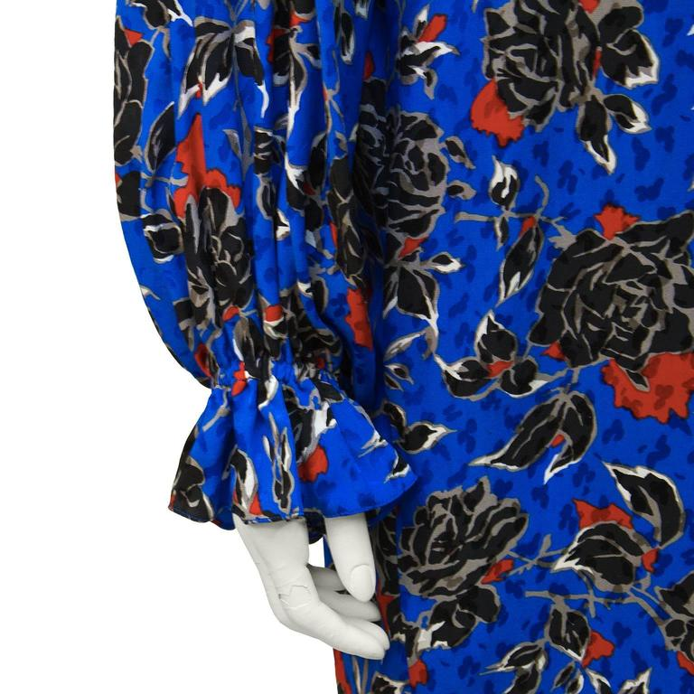 Women's 1980's Yves Saint Laurent YSL Jacquard Silk Print Dress For Sale