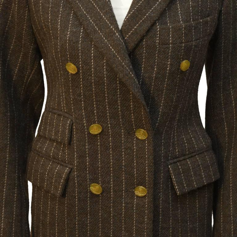 1980's Vivienne Westwood Brown Wool Blazer  In Excellent Condition For Sale In Toronto, Ontario