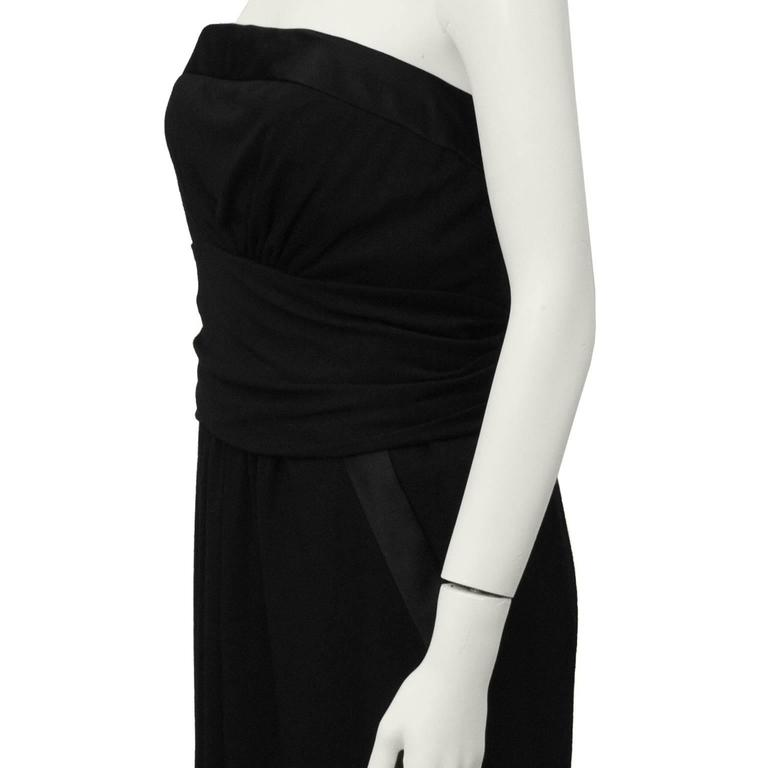 1980's Chanel Wool Jersey Strapless Gown  4