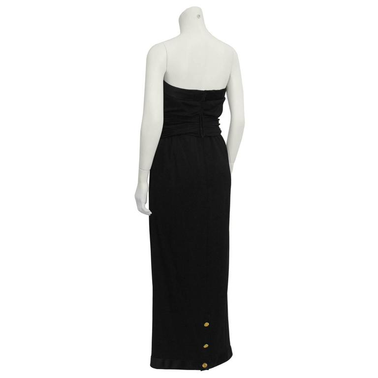 1980's Chanel Wool Jersey Strapless Gown  3