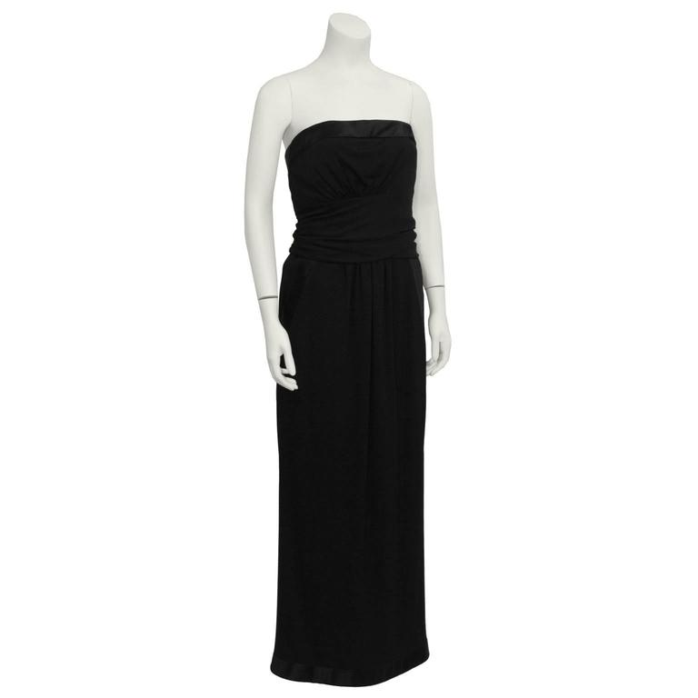1980's Chanel Wool Jersey Strapless Gown  2