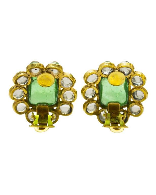 Anglo-Indian 1960's Chanel Green Poured Glass Earrings  For Sale