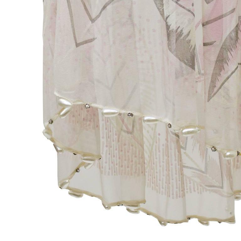 1980's Zandra Rhodes Pink Silk Chiffon Dress with Pearls  For Sale 1