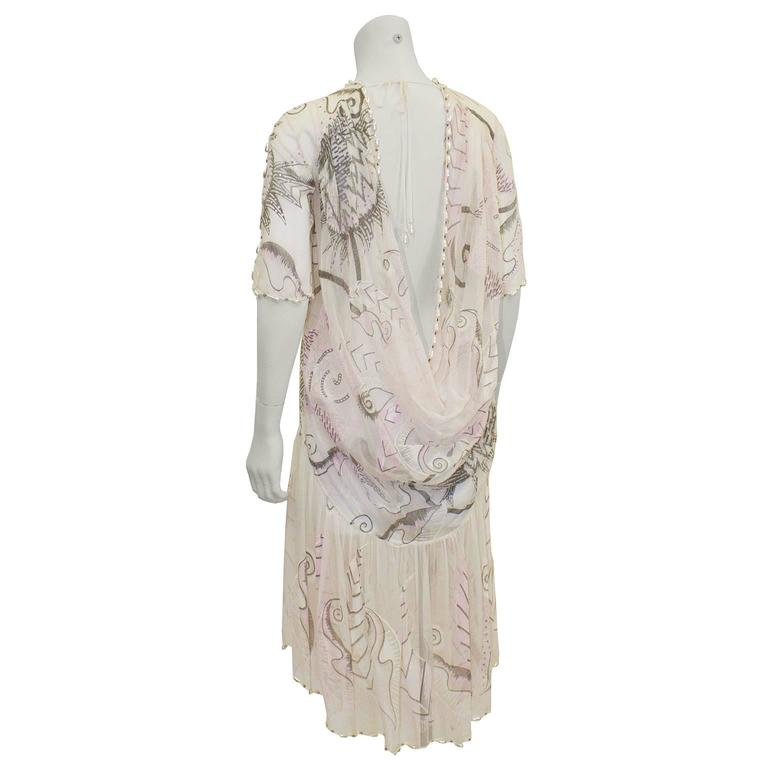 Beige 1980's Zandra Rhodes Pink Silk Chiffon Dress with Pearls  For Sale