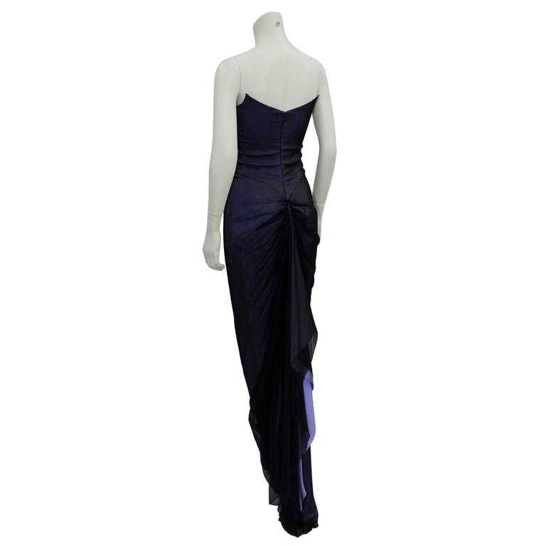 Early Career Richard Tyler Couture Purple and Black Gown  3