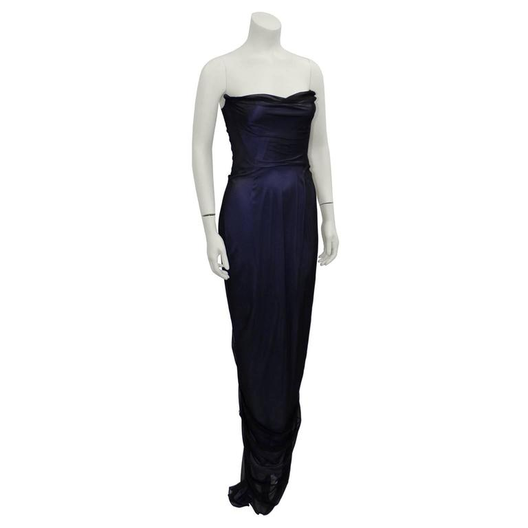 Early Career Richard Tyler Couture Purple and Black Gown  2