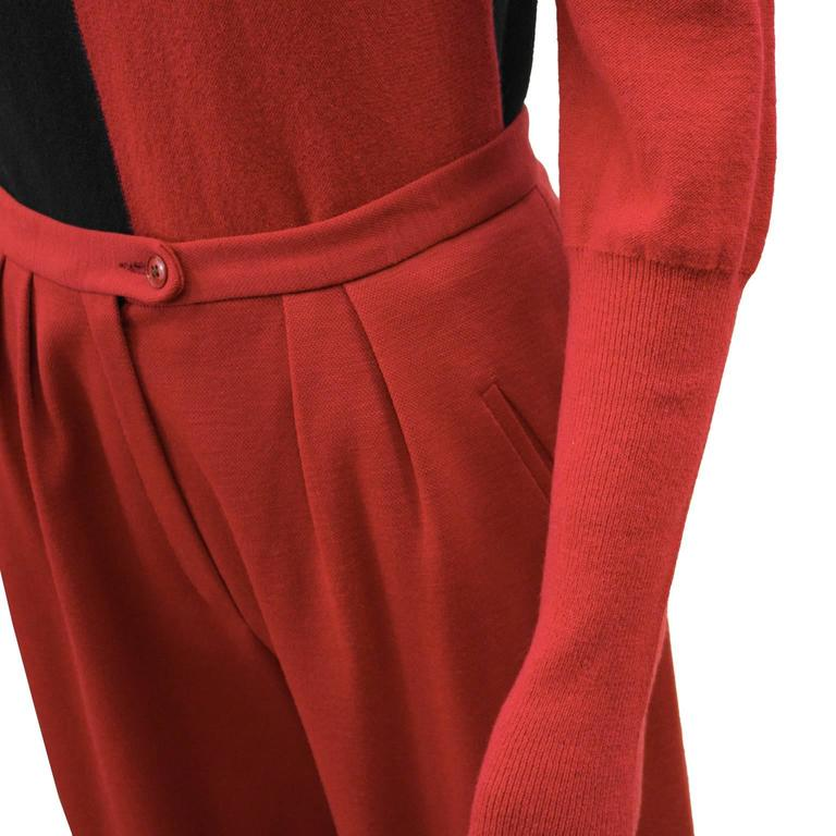 Women's 1980's Sonia Rykiel Red and Black Set  For Sale