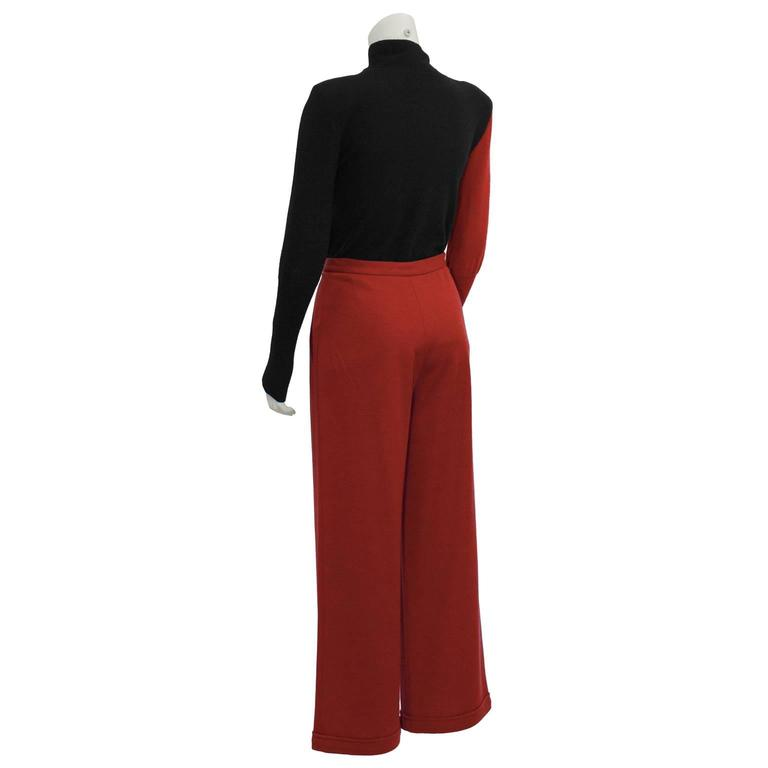 Brown 1980's Sonia Rykiel Red and Black Set  For Sale