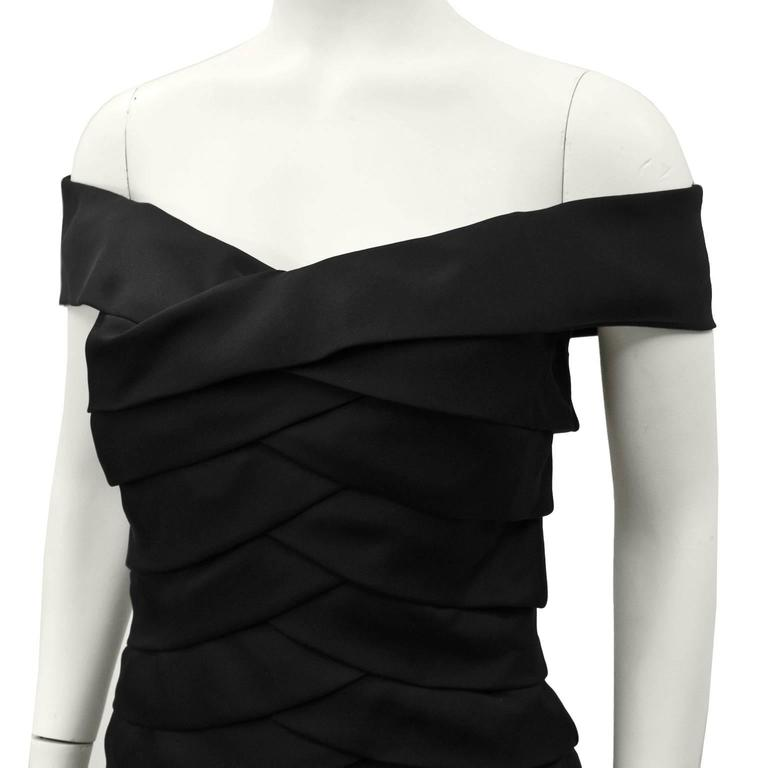 Women's 1980s Scaasi Black Off the Shoulder Cocktail Dress  For Sale
