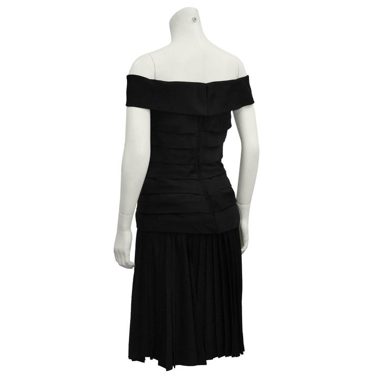1980s Scaasi Black Off the Shoulder Cocktail Dress  In Excellent Condition For Sale In Toronto, CA