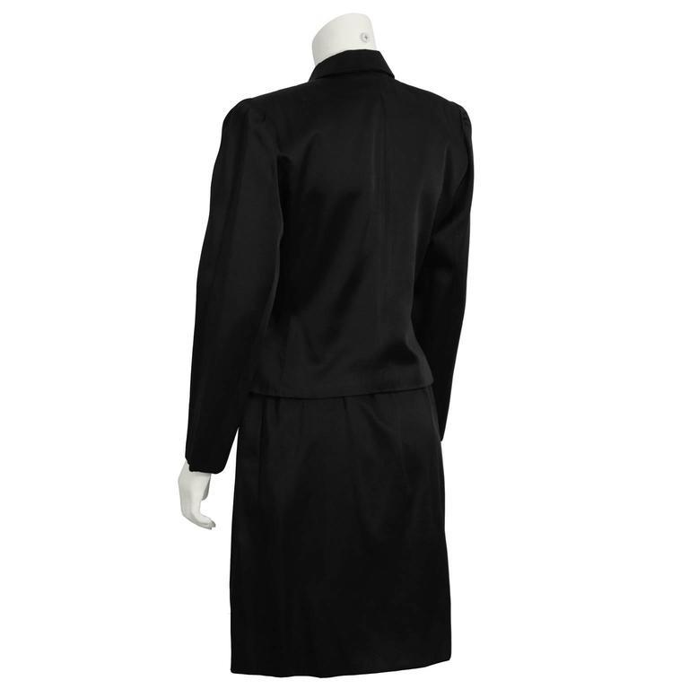 1980 S Yves Saint Laurent Ysl Black Satin Suit With