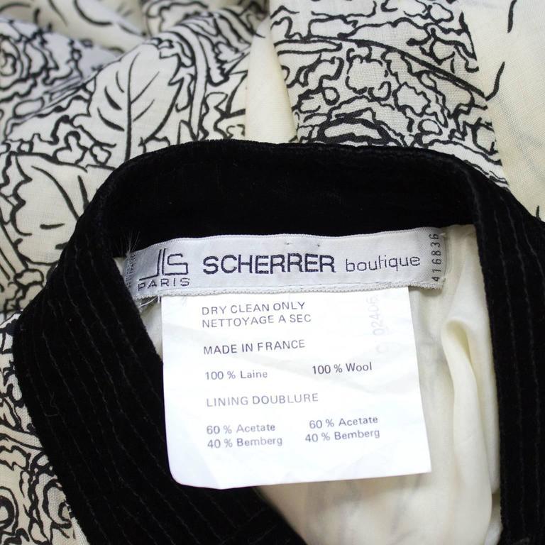 1980's Scherrer Cream & Black Print Wool Dress For Sale 1