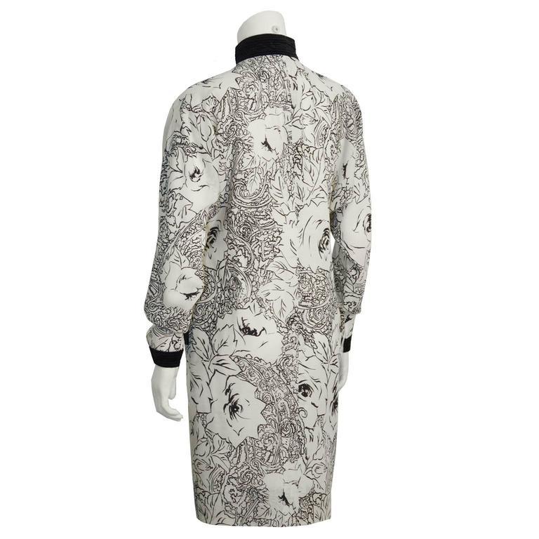 Gray 1980's Scherrer Cream & Black Print Wool Dress For Sale