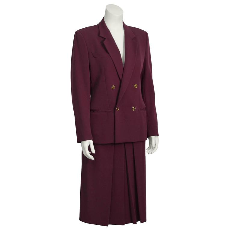 1970's Gucci Bordeau Gabardine Skirt Suit  2