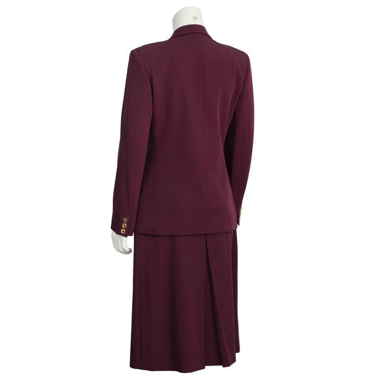 Black 1970's Gucci Bordeau Gabardine Skirt Suit  For Sale