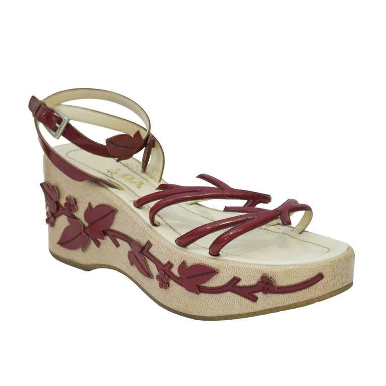 1997 Prada Red Leather Vine Leaf Platform Sandals  2