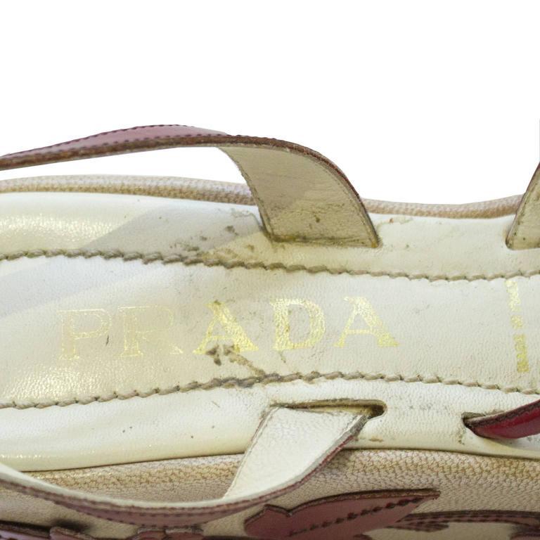 1997 Prada Red Leather Vine Leaf Platform Sandals  5