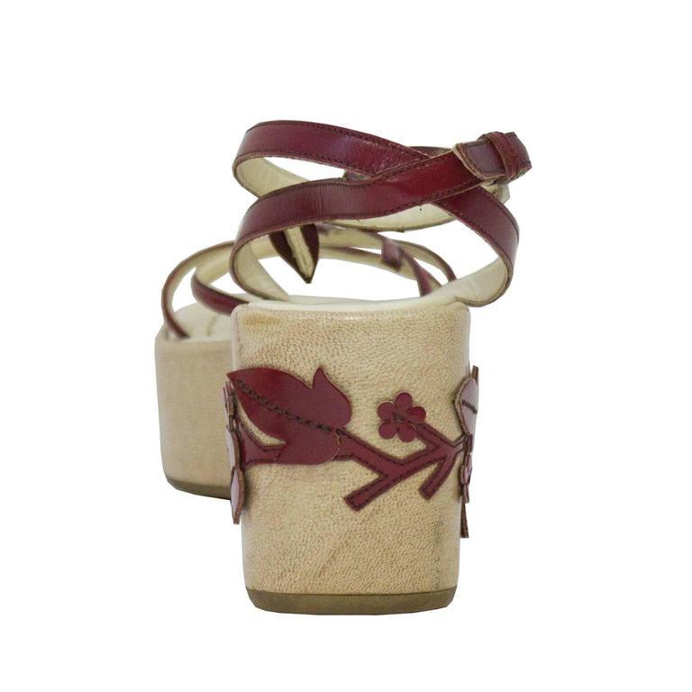 d5ea891dcb4 Beige 1997 Prada Red Leather Vine Leaf Platform Sandals For Sale