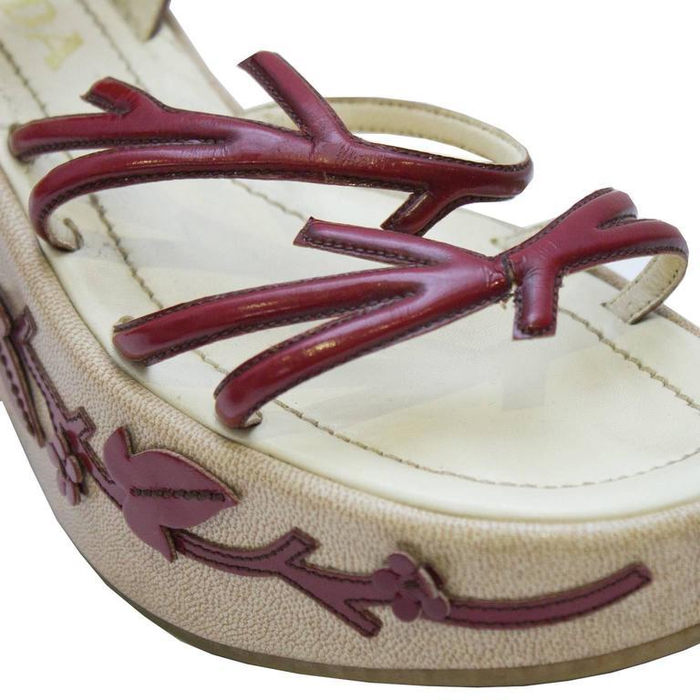 1997 Prada Red Leather Vine Leaf Platform Sandals  4