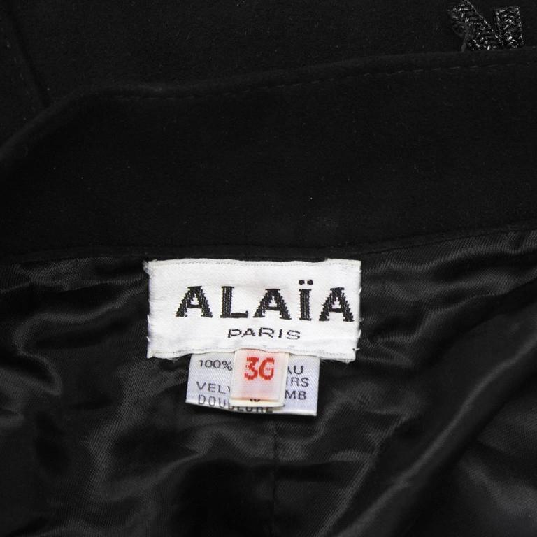 1980's Alaia Black Suede Jacket and Skirt Set For Sale 2